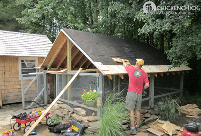 Construction of the run roof on the Little Deuce Coop began in August, 2011