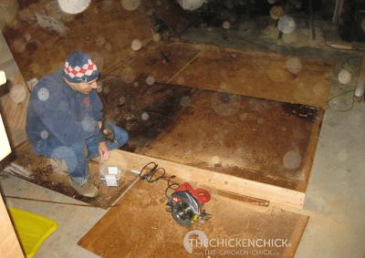 Floor being assembled.