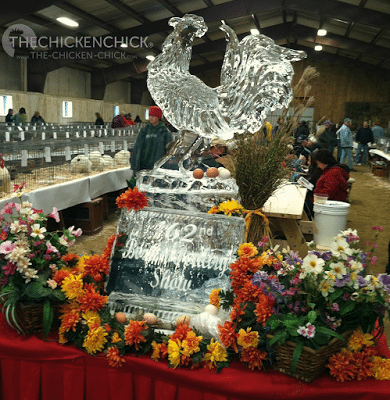 We were greeted by this beautiful, rooster ice sculpture, which became something of an altar to the Power of Poultry, as eggs laid throughout the show were placed reverently upon it.