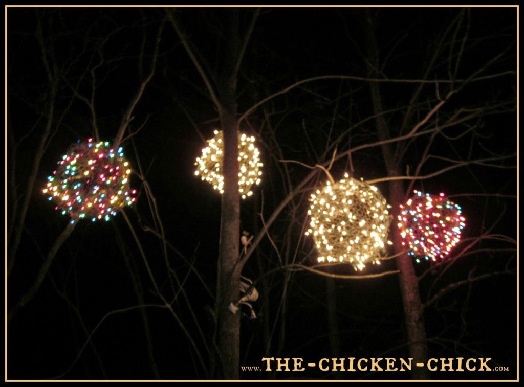 For little more than a 20 minute time investment and approximately $3.00 per ball, a stunning, outdoor display can be created that will be the envy of the neighborhood! So grab your gloves and give Chicken Wire Christmas Balls a try!