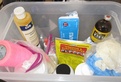 I always keep a basic chicken first-aid kit handy and stocked with: *Vetericyn VF wound and infection treatment: There are different formulations of Vetericyn- I have used them all and I prefer the Vetericyn VF spray primarily because the veterinary formula is three times stronger than the regular Vetericyn hydrogel spray.