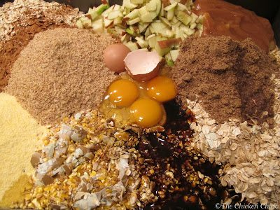 Mix all dry ingredients together. In a separate bowl, mix all wet ingredients together. Add wet to dry ingredients, mix well.