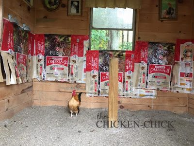 Staple empty feed bags onto the walls behind the roosts. It's much easier to replace soiled feed bags than it is to scrape chicken poop off the walls!