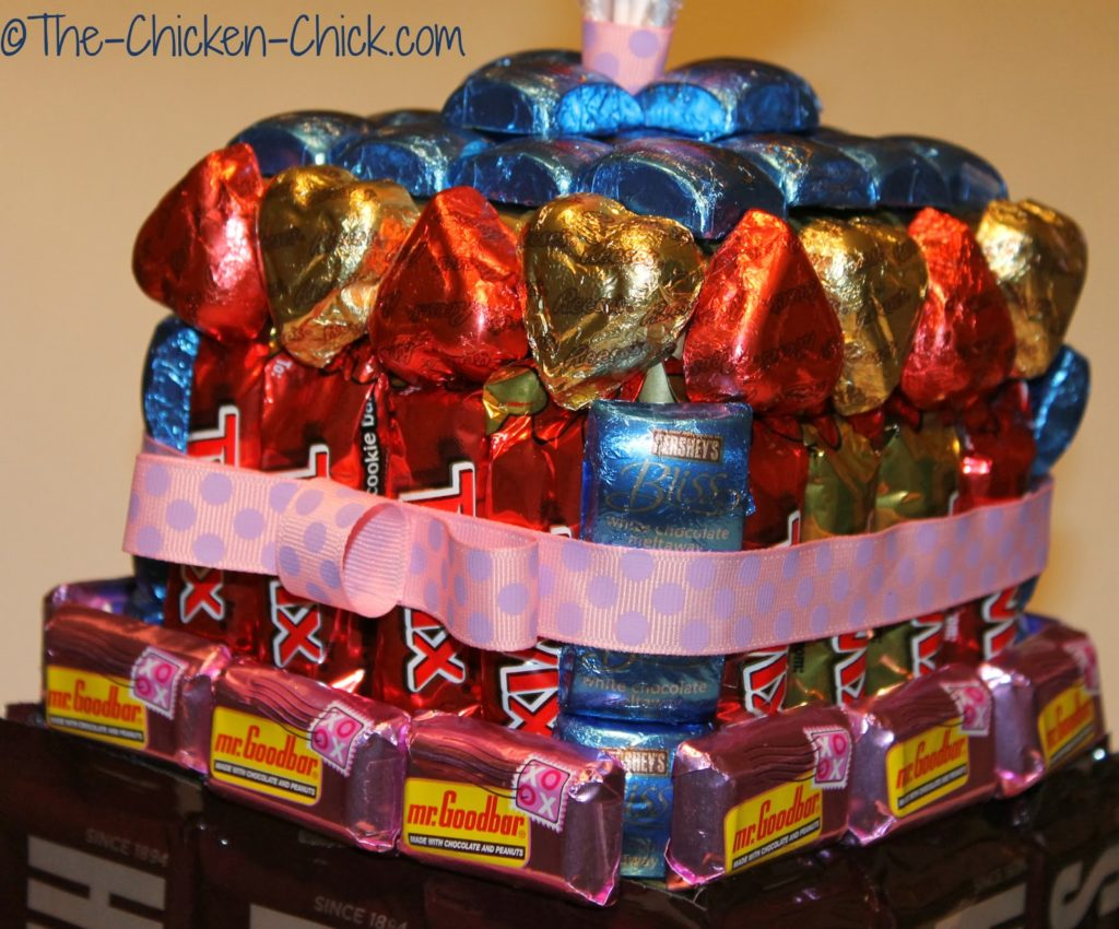 Top of candy cake with ribbon around it