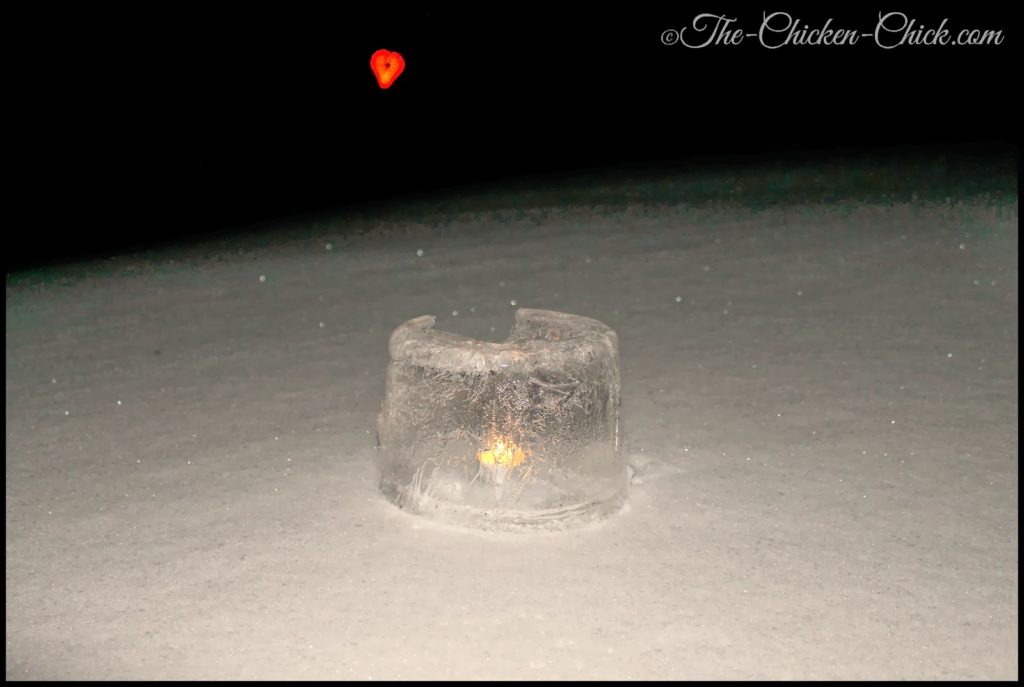 Ice lantern by the light of the chicken coop Valentine's Day heart.