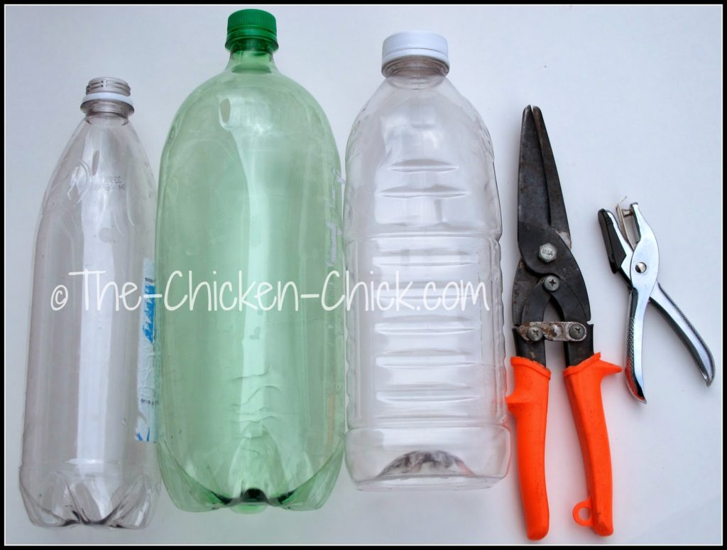 Using utility shears or a serrated knife, cut a clean plastic bottle in half. Smooth out any rough or sharp edges with shears. For chicks, it's best to cut each half even shorter so that they can reach the feed at the bottom of the bottle.