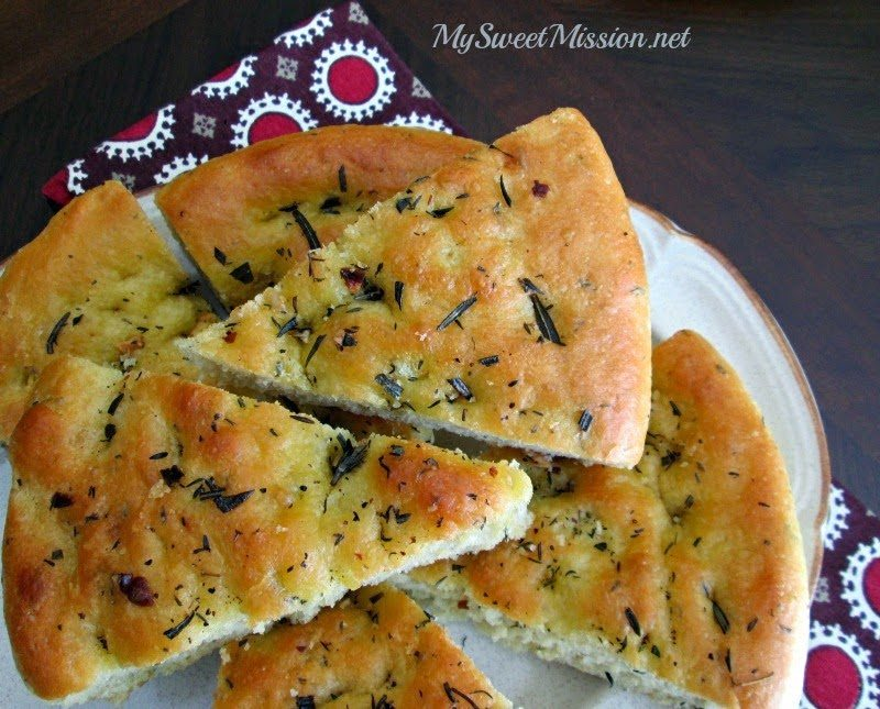 Rosemary Focaccia Bread, shared by My Sweet Mission