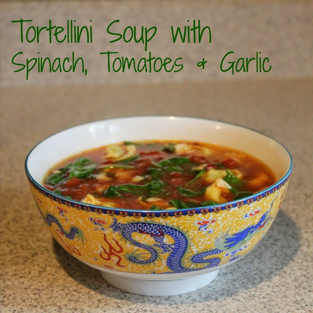 Tortellini Soup with Spinach, Tomatoes & Garlic, shared by A Nation of Moms
