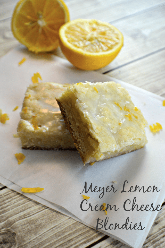 Meyer Lemon Cream Cheese Blondies, shared by My Sweet Sanity
