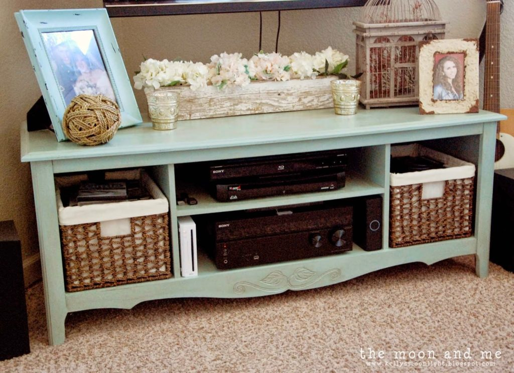 Entertainment Center Makeover into a Console, shared by The Moon & Me