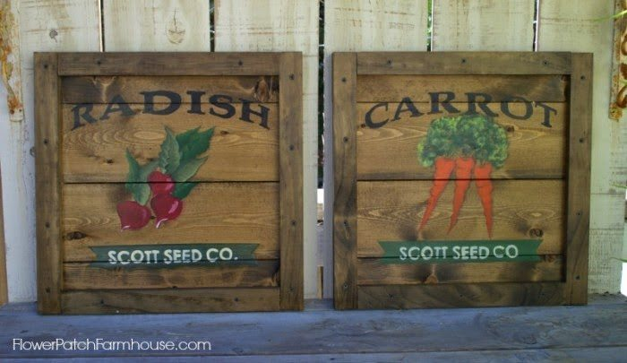 DIY Vintage Crate Seed Pack Sign Art, shared by Flower Patch Farmhouse
