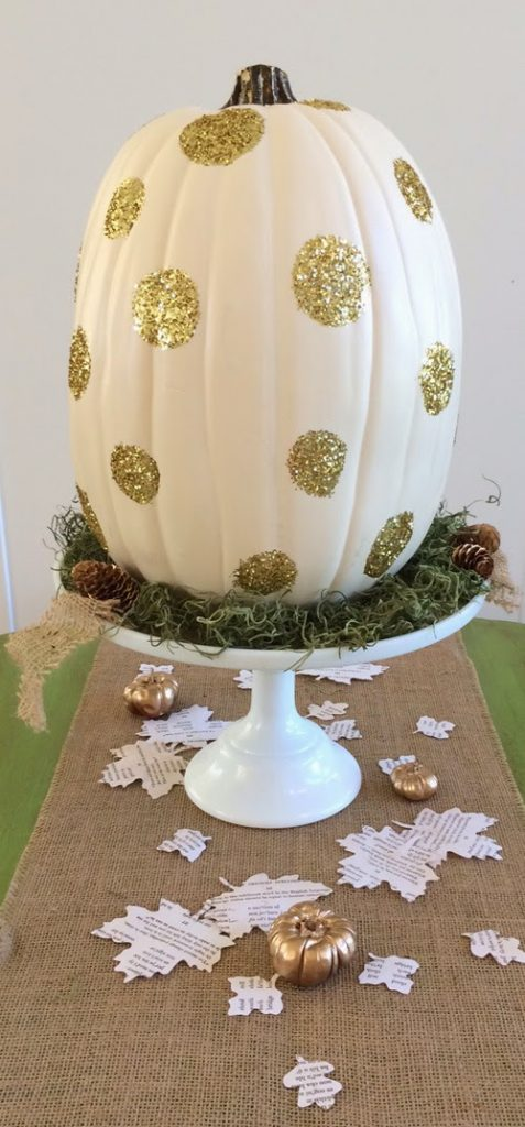 Glittered Pumpkin Centerpiece, shared by Table R Party of Two