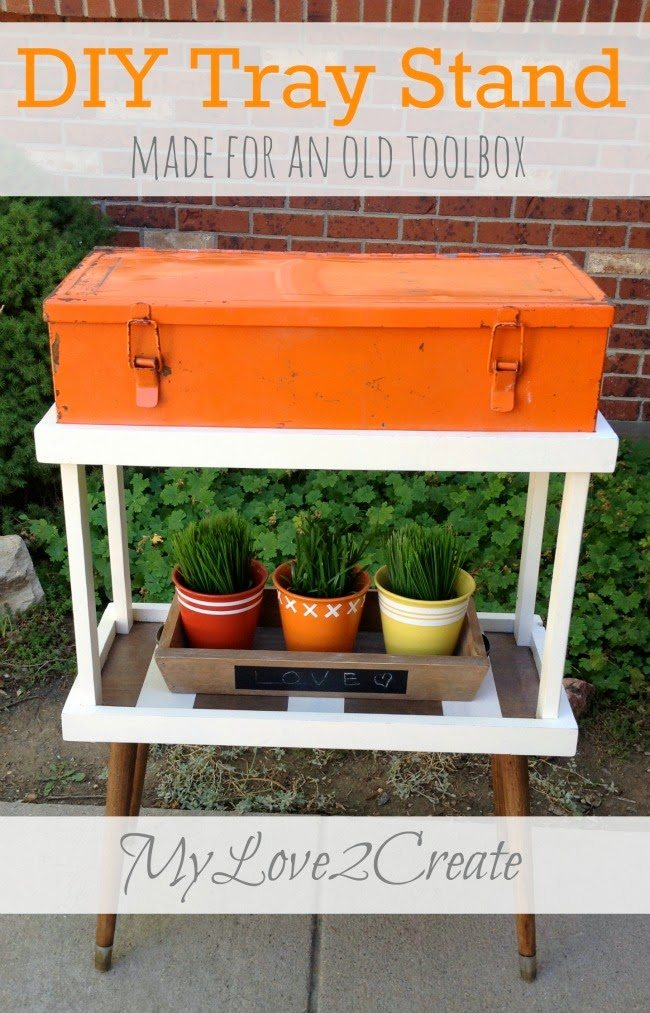 DIY Tray Stand from Old Toolbox, shared by My Love 2 Create