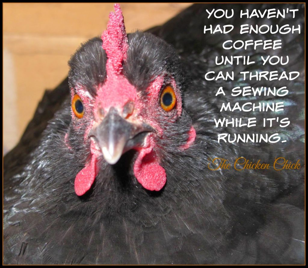 You haven't had enough coffee until you can thread a sewing machine while it's running. via The Chicken Chick®