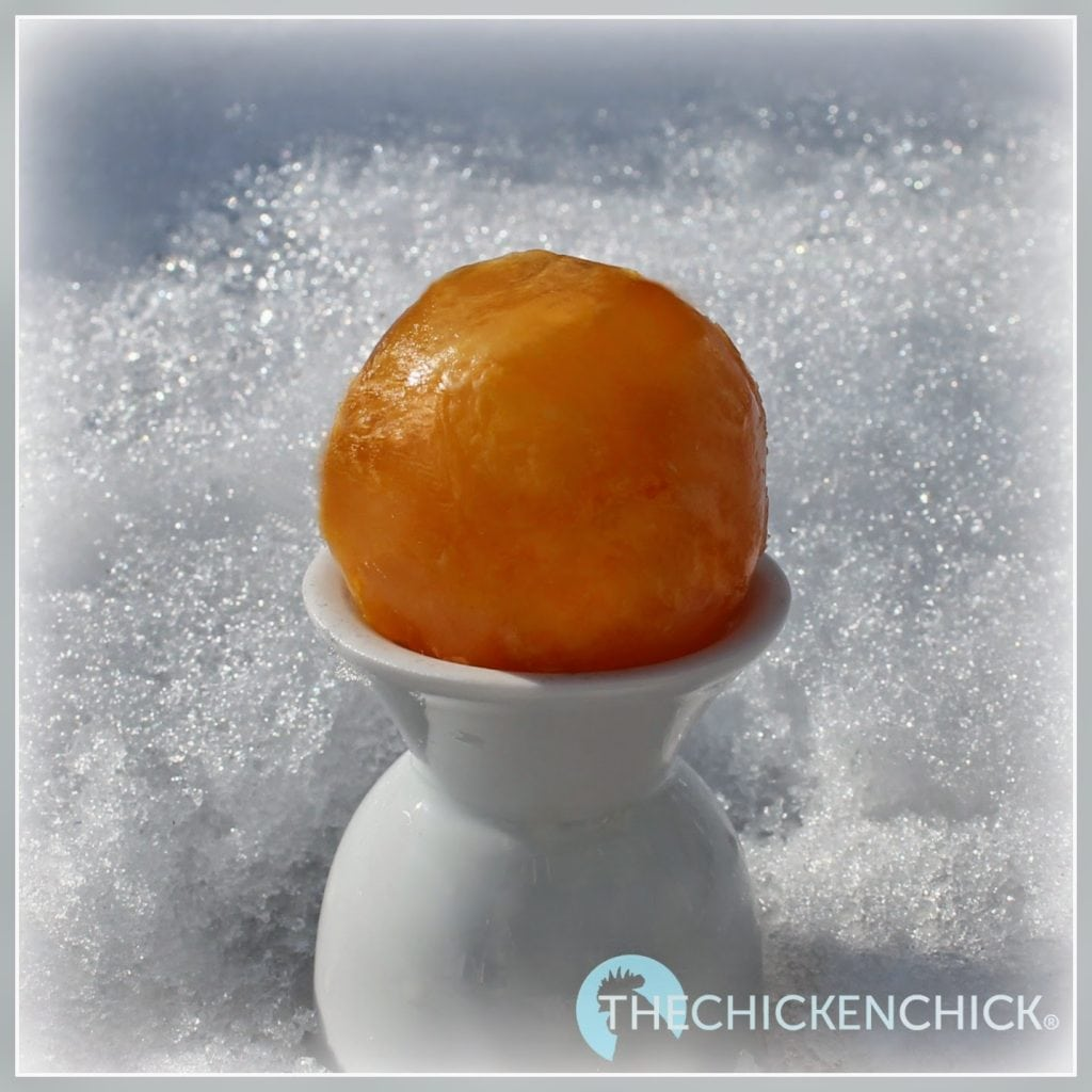 """I couldn't resist making frozen eggs using these round, """"Chillz,"""" ice cube trays we got for Christma"""