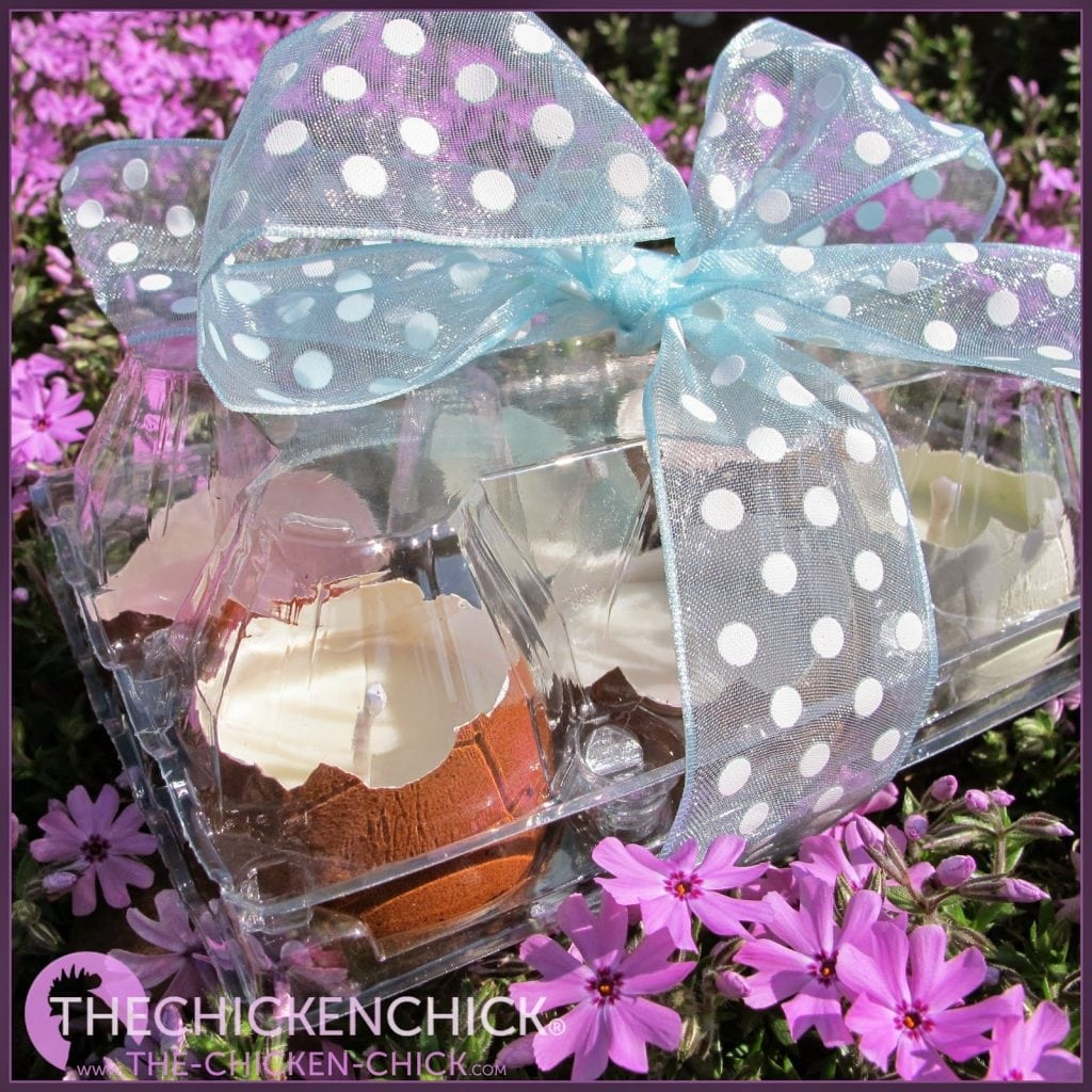 Fill clear plastic egg cartons with eggshell candles and wrap with pretty ribbon for gifting.