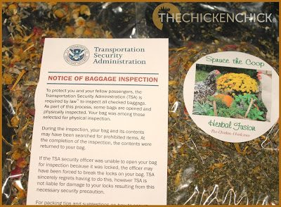 my Spruce the Coop Herbal Fusion that I had brought for our host family's flock had gotten my luggage nominated for a TSA inspection.