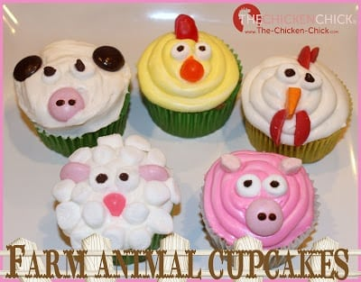 Farm animal cupcakes, chicken chick, rooster, cow, lamb and pig