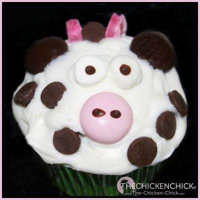 Farm animal cupcakes, cow