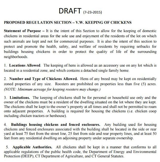 This is the Zoning Commission's draft chicken keeping regulation, which will be voted on next month. This version far exceeds any expectation I ever had of the type of regulation that might come from this Commission, but...it ain't over until the fat lady sings. Stay tuned!