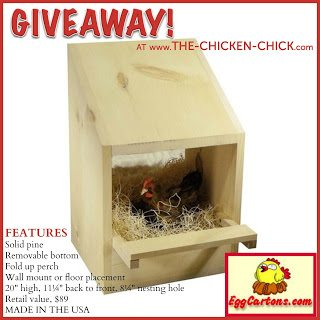 Enter to WIN a Solid Pine Nest Box, courtesy of EggCartons.com at www.The-Chicken-Chick.com