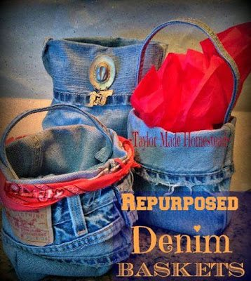 Repurposed Denim into Cute Baskets, shared by Taylor Made Ranch