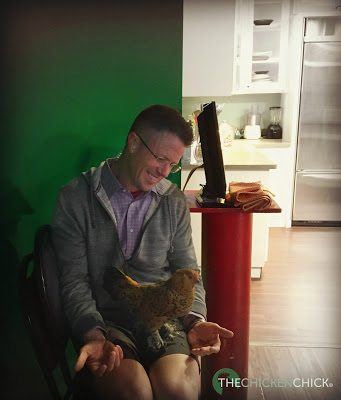 The second surprise wasn't really for me...it was for the meteorologist, Mark Dixon, who was introduced to an otherwise well behaved, Daisy d'Uccle.