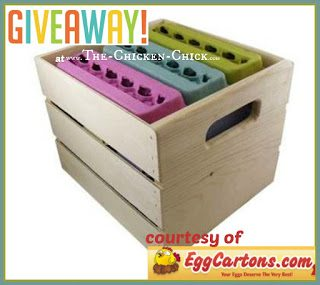 Solid pine egg carrying crate giveaway at The Chicken Chick, courtesy of EggCartons.com