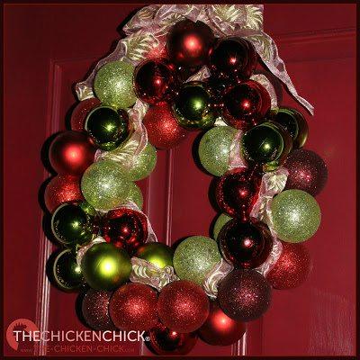 Dollar Store ornament wreath via The Chicken Chick®