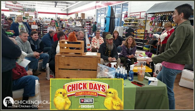 The Chicken Chick, Kathy Mormino, speaking to a group during Chick Days at a Tractor Supply Company store.