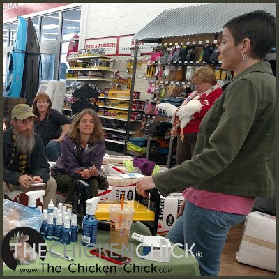 Meeting fellow chicken keepers during Chick Days Tractor Supply Company in Vernon, CT