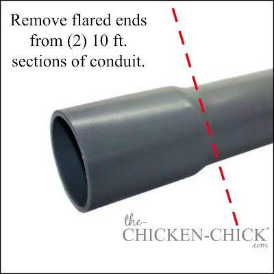 With saw or pipe cutter, remove the flared ends from each of (2) pieces of 10 ft conduit. (the cuts should be equal in length) Loosely attach a T-connector to each of the 4 ends.